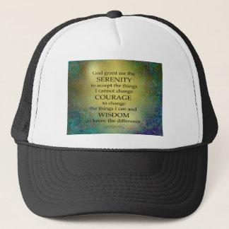 Serenity Prayer Gold on Blue-Green Trucker Hat