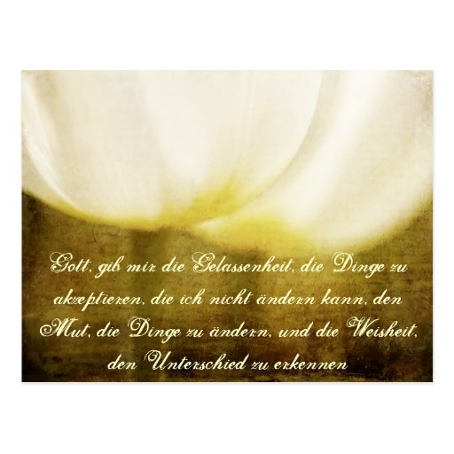 Serenity Prayer in German with Tulips Postcard