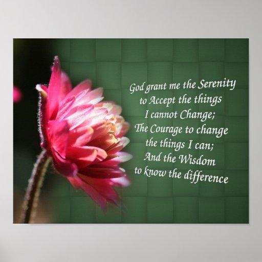 Serenity Prayer Inspirational Flower Poster
