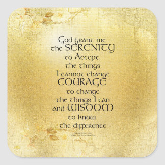 Serenity Prayer Kelt on Yellow Square Sticker