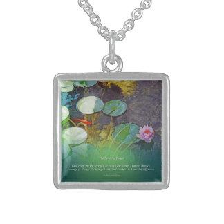 Serenity Prayer Koi Pond Lotus Sterling Silver Necklace