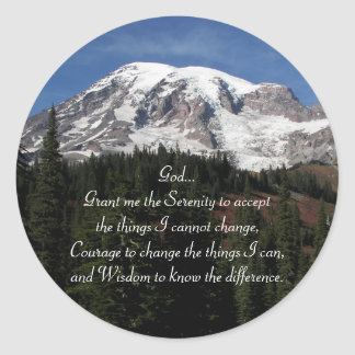 Serenity Prayer Mount Rainier Photo Classic Round Sticker