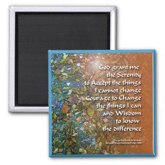Serenity Prayer Orange Blue Leaves Magnet