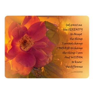 Serenity Prayer Orange Pink Rose 17 Cm X 22 Cm Invitation Card
