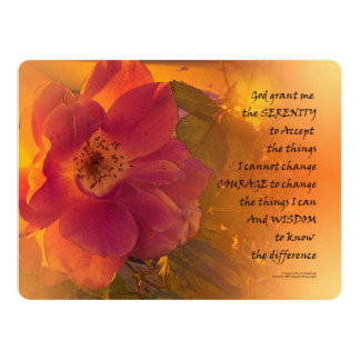 Serenity Prayer Orange Pink Rose Card