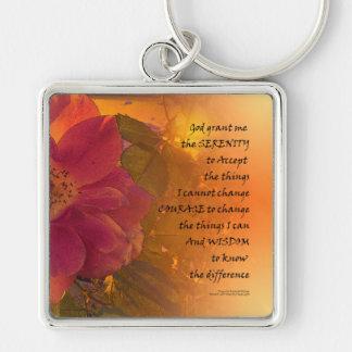 Serenity Prayer Orange Pink Rose Key Ring