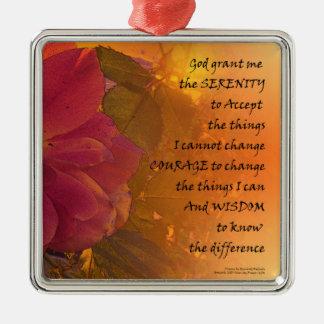 Serenity Prayer Orange Pink Rose Metal Ornament