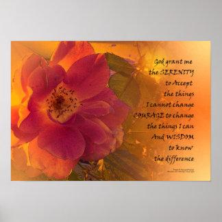 Serenity Prayer Orange Pink Rose Poster