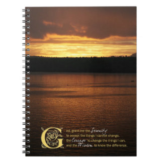 Serenity Prayer Over Sunset Journal Spiral Note Books