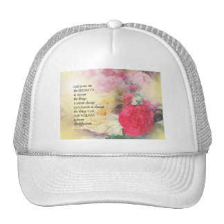 Serenity Prayer Peonies and Roses Cap