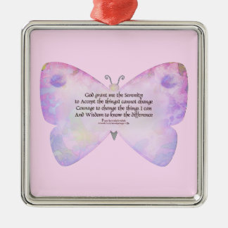 Serenity Prayer Pink and Lavender Butterfly Metal Ornament