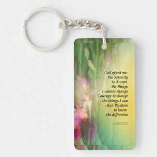 Serenity Prayer Pink and Red Irises Key Ring