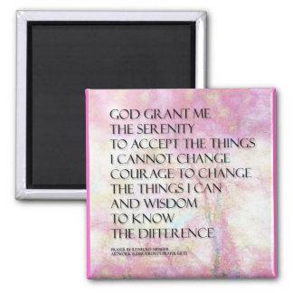 Serenity Prayer Pink and White Magnet