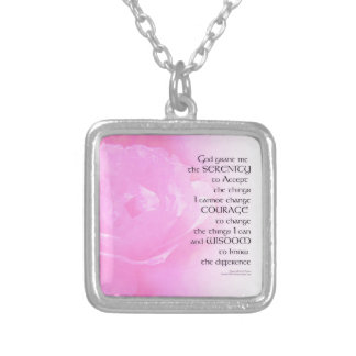 Serenity Prayer Pink Rose Blend Silver Plated Necklace