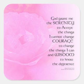 Serenity Prayer Pink Rose Blend Square Sticker