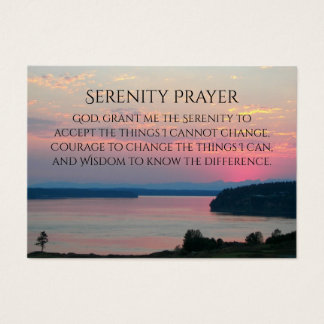 Serenity Prayer Pink Seascape Photo Business Card