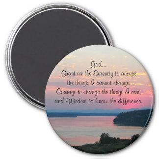 Serenity Prayer Pink Seascape Photo Magnet