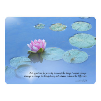 Serenity Prayer Pink Water Lily Card