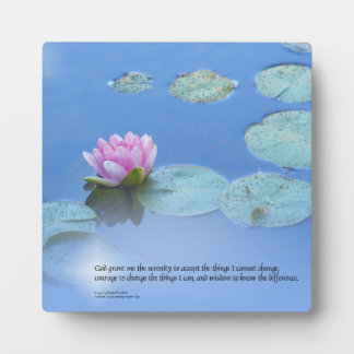 Serenity Prayer Pink Water Lily Display Plaques
