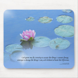 Serenity Prayer Pink Water Lily Mouse Pad