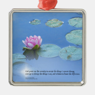 Serenity Prayer Pink Water Lily Silver-Colored Square Decoration