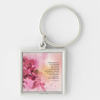 Serenity Prayer Quince Fence 3 Pink Key Ring