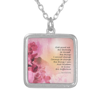 Serenity Prayer Quince Fence 3 Pink Silver Plated Necklace