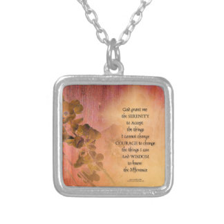 Serenity Prayer Quince Fence One Silver Plated Necklace