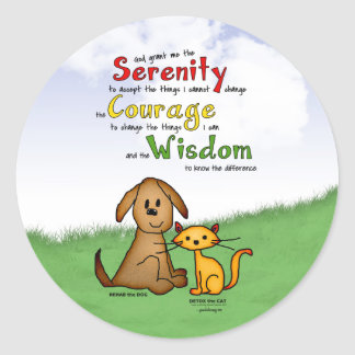 Serenity Prayer: Rehab & Detox, Strength/Recovery Classic Round Sticker