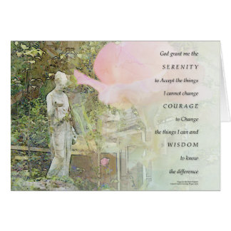 Serenity Prayer Rose and Garden Statue Card