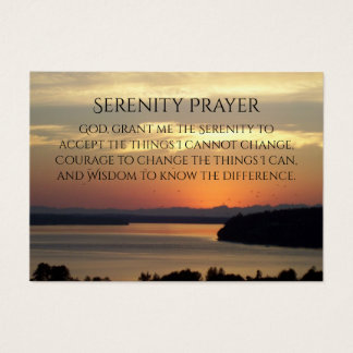 Serenity Prayer Seascape Sunset Photo Business Card