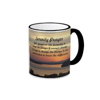 Serenity Prayer Seascape Sunset Photo Ringer Mug