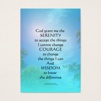 Serenity Prayer September Sky Business Card