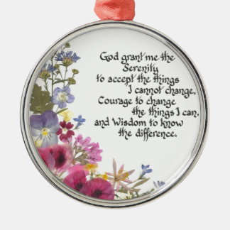 Serenity Prayer Silver-Colored Round Decoration
