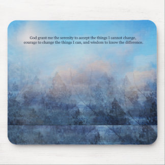 Serenity Prayer Sky and Trees Abstract Mouse Pad