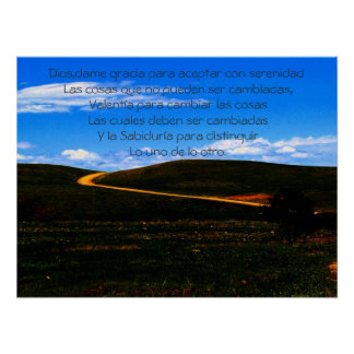 Serenity Prayer/Spanish poster/Motivational Poster