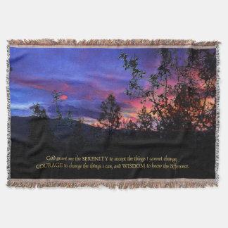 Serenity Prayer Spring Sunrise Throw Blanket