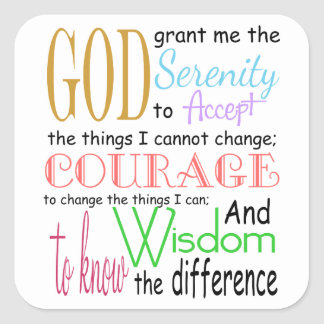 Serenity Prayer Square Sticker