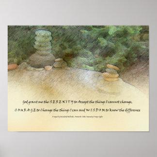 Serenity Prayer Stacked Rocks Poster