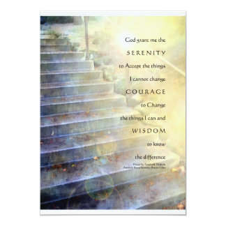 Serenity Prayer Steps Yellow Blue Invitation
