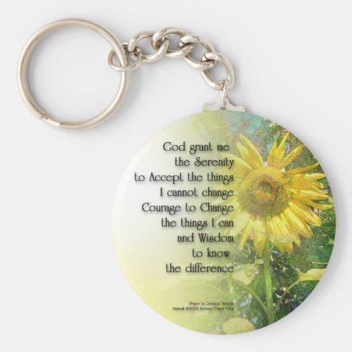 Serenity Prayer Sunflower Key Chains