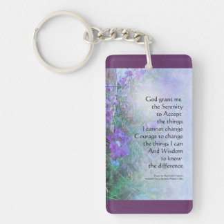 Serenity Prayer Sweet Peas and Fence Key Ring