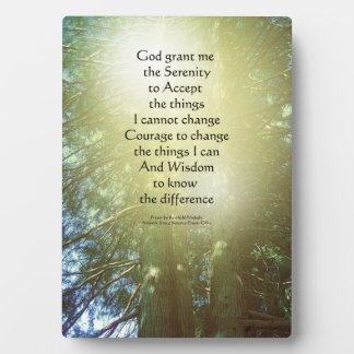 Serenity Prayer Tall Trees Two Photo Plaque