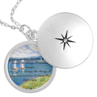Serenity Prayer  - Tirrell Design Sailboat Silver Plated Necklace