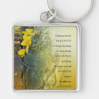 Serenity Prayer Tree Trunk and Yellow Leaves Keych Key Ring