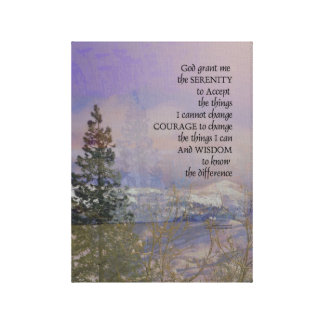 Serenity Prayer Trees Hills Snow Canvas Print
