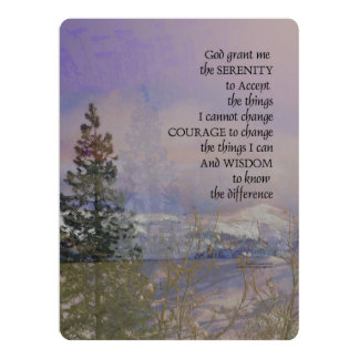 Serenity Prayer Trees Hills Snow Card