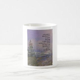 Serenity Prayer Trees Hills Snow Coffee Mug