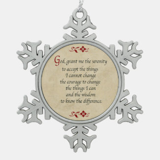 Serenity Prayer/Vintage Style Pewter Snowflake Decoration