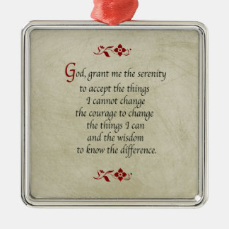 Serenity Prayer/Vintage Style Silver-Colored Square Decoration